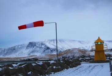 windsack in Reykjavík harbor